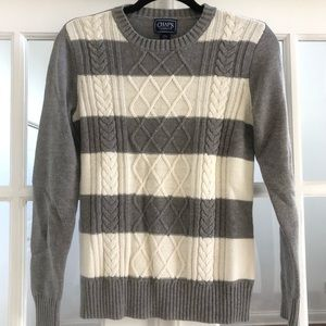 CHAPS Striped Sweater White Grey Size Small